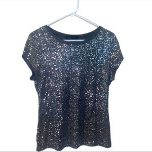 INC International Concepts Top Silver Gray Sequins